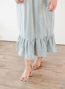 Blue Embroidered Ruffle Skirt