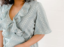 Load image into Gallery viewer, Blue Embroidered Wrap Top