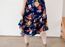 Load image into Gallery viewer, Navy Floral Asymmetric Ruffle Skirt