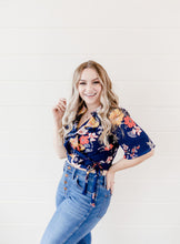Load image into Gallery viewer, Navy Floral Wrap Top