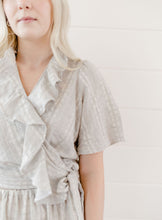 Load image into Gallery viewer, Gray Embroidered Wrap Top