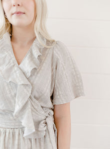 Gray Embroidered Wrap Top