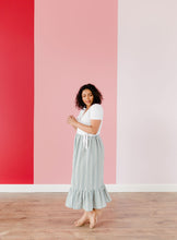 Load image into Gallery viewer, Blue Embroidered Ruffle Skirt