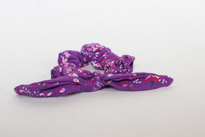 Purple and Pink Floral Bow Scrunchie