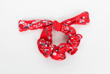Load image into Gallery viewer, Red and White Floral Bow Scrunchie
