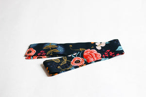 Navy Floral Hair Scarf