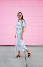 Load image into Gallery viewer, White and Black Grid Wide Leg Pants