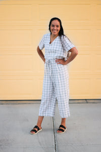 White and Black Grid Wide Leg Pants