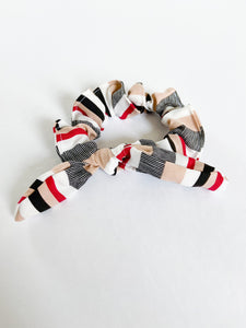 Maroon and Black Stripe Scrunchie
