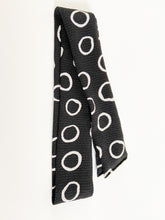 Load image into Gallery viewer, Black with White Circles Hair Scarf