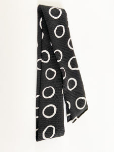 Black with White Circles Hair Scarf