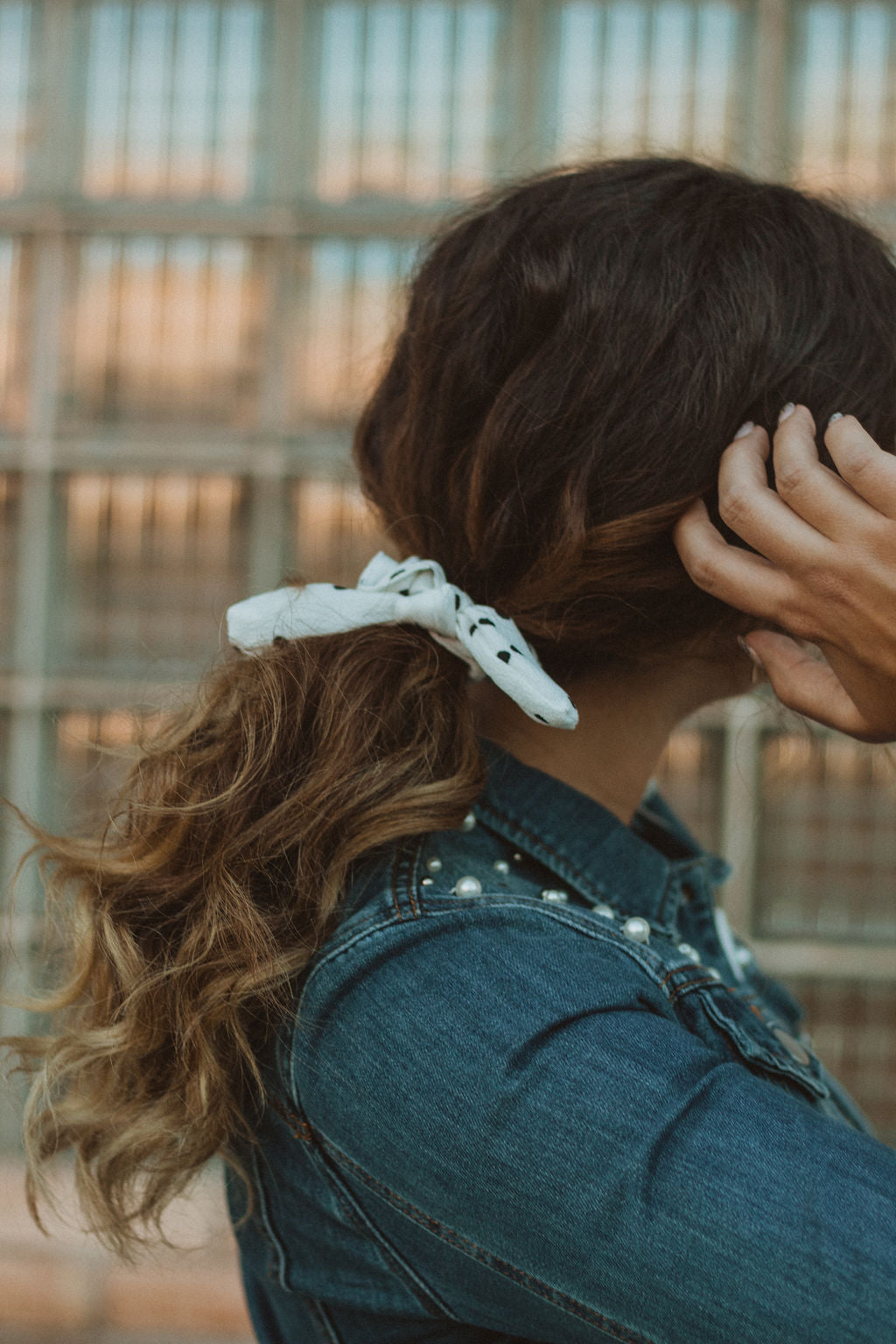 White and Black Polka Dot Scrunchie