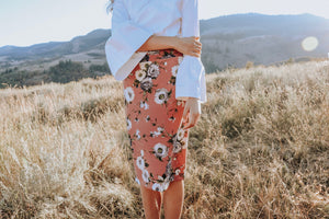 Muave Floral Pencil Skirt