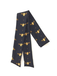 Black with Gold Bees Hair Scarf