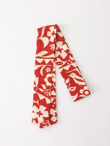 Red and Cream Floral Hair Scarf