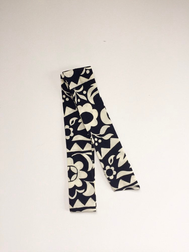 Navy and Cream Floral Hair Scarf