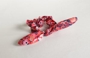 Hot Pink Floral Bow Scrunchie