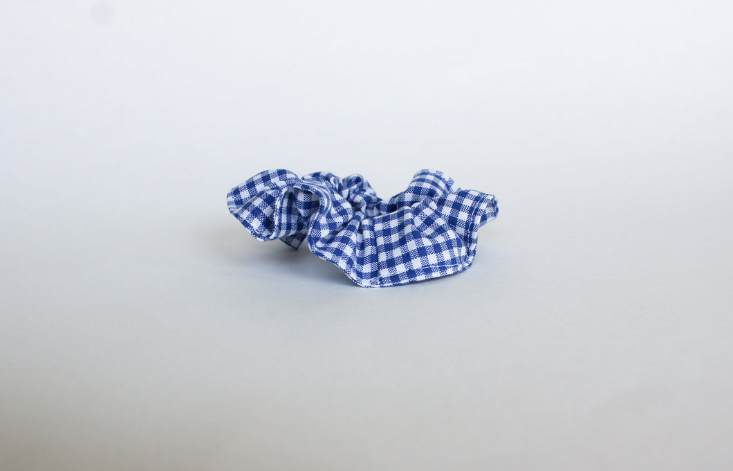 Dark Blue Gingham Scrunchie