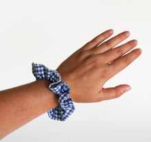 Load image into Gallery viewer, Dark Blue Gingham Scrunchie