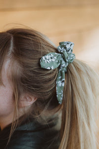 Green Floral Bow Scrunchie