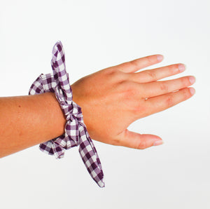 Purple Gingham Bow Scrunchie
