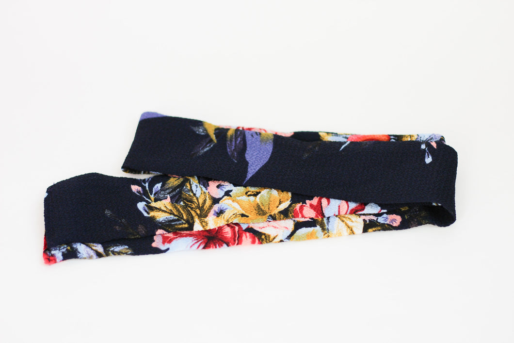 Navy and Red Floral Hair Scarf