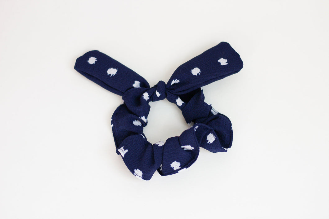 Navy Abstract Dot Bow Scrunchie