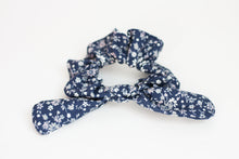 Load image into Gallery viewer, Navy, Gray, and Pink Floral Bow Scrunchie
