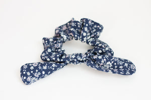 Navy, Gray, and Pink Floral Bow Scrunchie