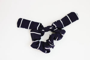 Navy and White Stripe Bow Scrunchie