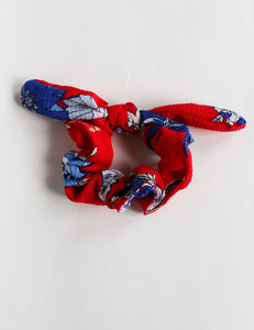Red and White Floral Bow Scrunchie