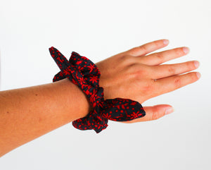 Navy and Red Floral Bow Scrunchie
