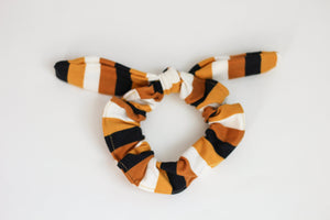 Mustard Yellow Large Stripe Bow Scrunchie