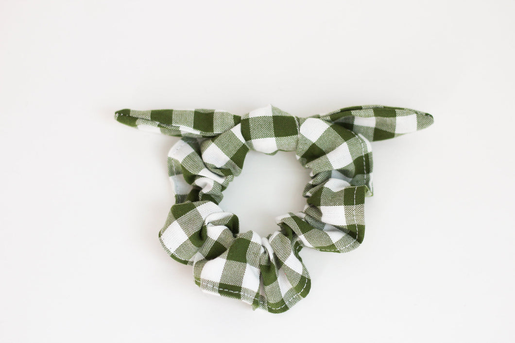 Hunter Green and White Gingham Bow Scrunchie