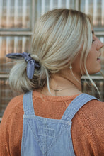 Load image into Gallery viewer, Indigo Stripe Bow Scrunchie