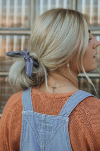 Indigo Stripe Bow Scrunchie