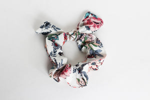 White Floral Bow Scrunchie