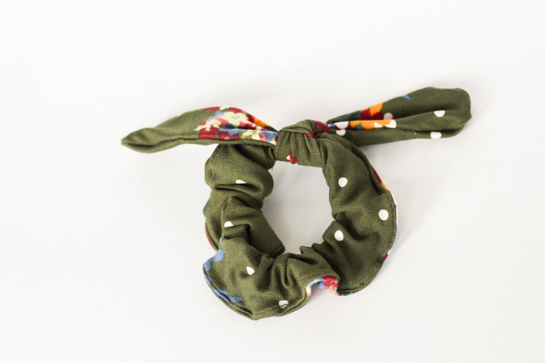 Olive Green Floral Bow Scrunchie