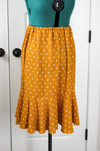 Load image into Gallery viewer, Mustard Yellow Polka Dot Ruffle Skirt