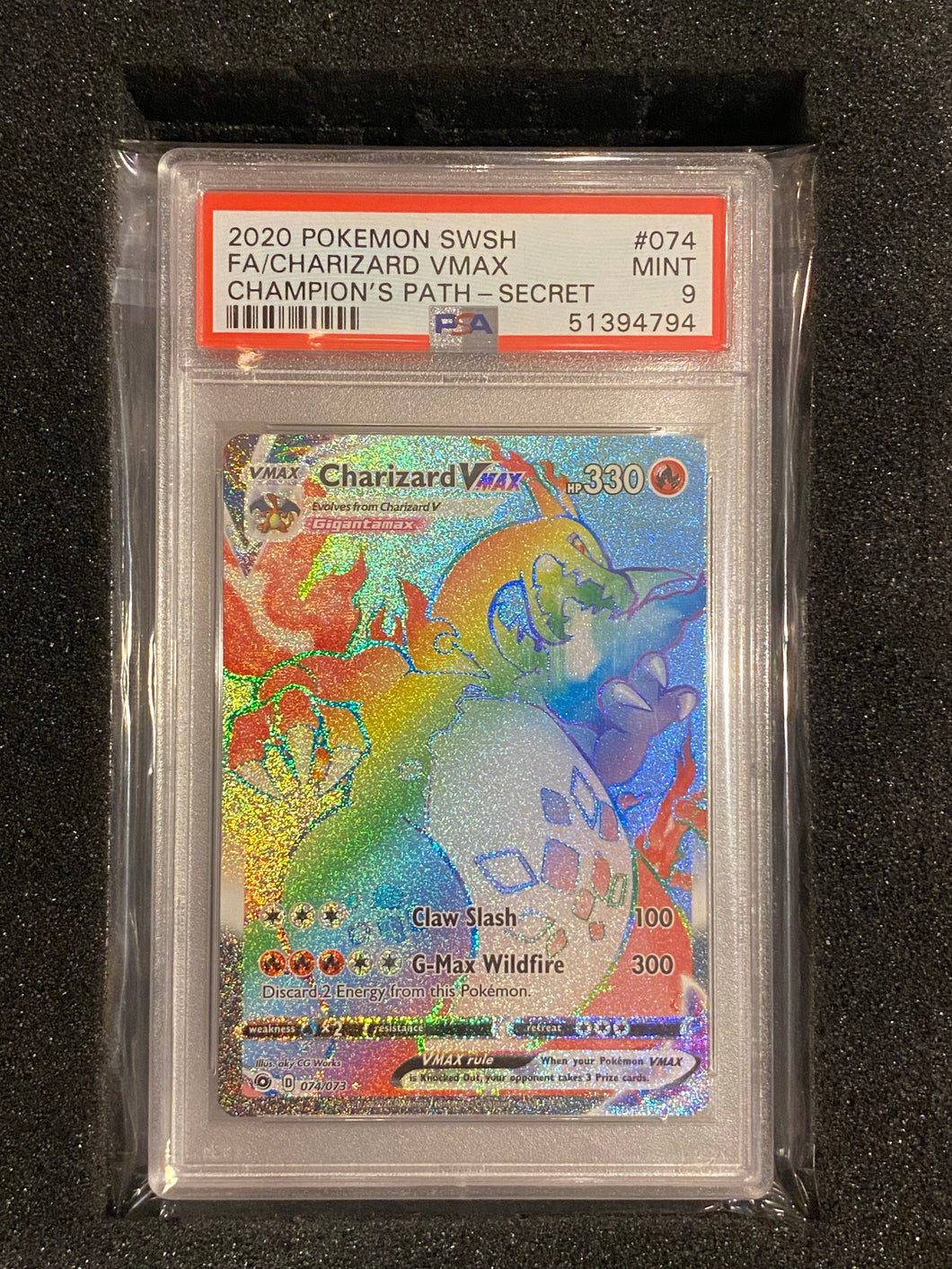 PSA 9 MINT - Rainbow Rare Charizard VMAX 074/073 - Secret Rare Full Art - Champion's Path