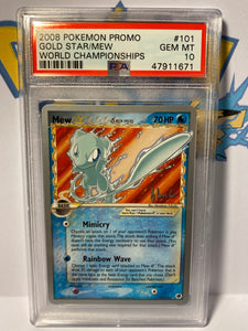 PSA 10 GEM MINT Gold Star Mew - World Championship - Non Holo 101/101 - 2008 Dragon Frontiers