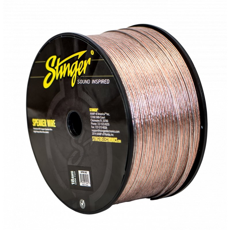 18GA PRO SPEAKER WIRE: CLEAR 1000' Roll