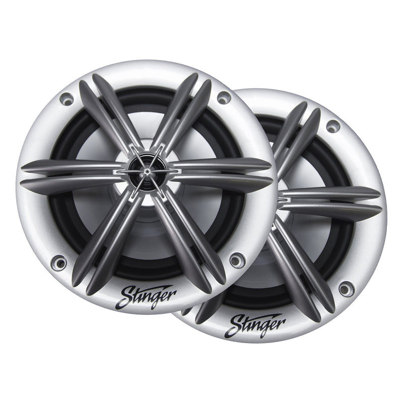 "6.5"" SILVER COAXIAL MARINE SPEAKERS"