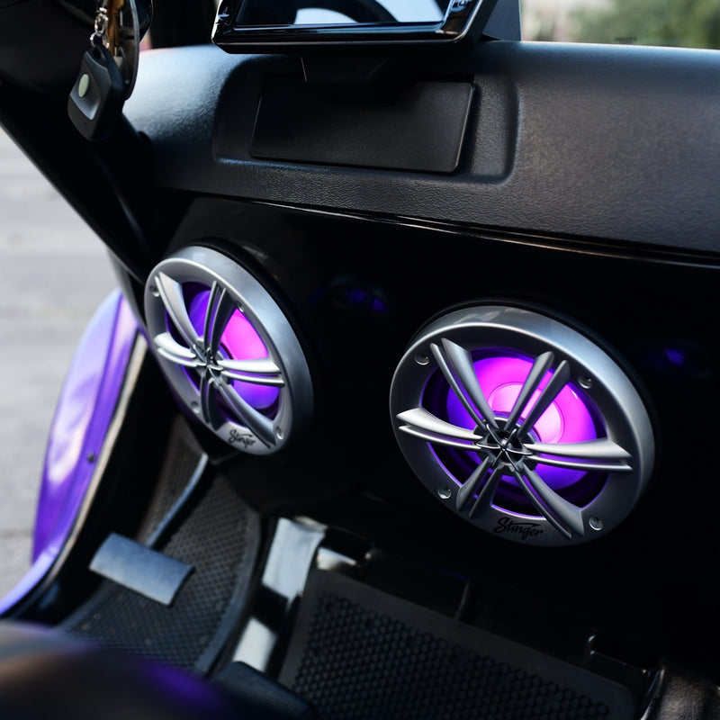 "6.5"" SILVER COAXIAL POWERSPORTS/OFF-ROAD SPEAKERS WITH BUILT-IN MULTI-COLOR RGB LIGHTING"