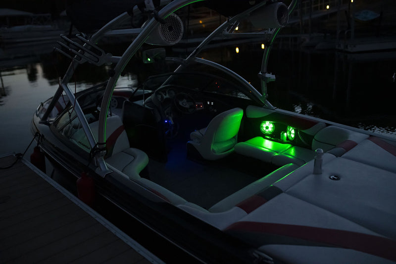 "6.5"" WHITE COAXIAL MARINE SPEAKERS WITH BUILT-IN MULTI-COLOR RGB LIGHTING"