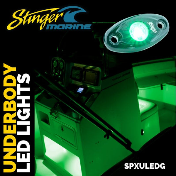 GREEN IPX68 LED GUNNEL/DECK/CABIN ACCENT LIGHTS (PAIR)