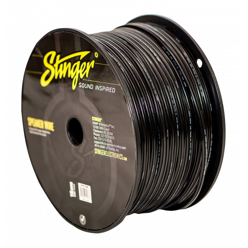 16GA SPEAKER WIRE: BLACK 500' ROLL