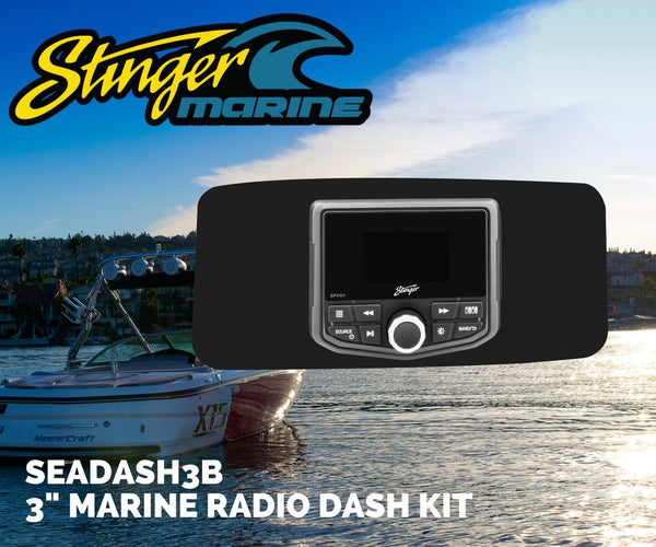 "UNIVERSAL MARINE 3"" RADIO DASH KIT - BLACK"