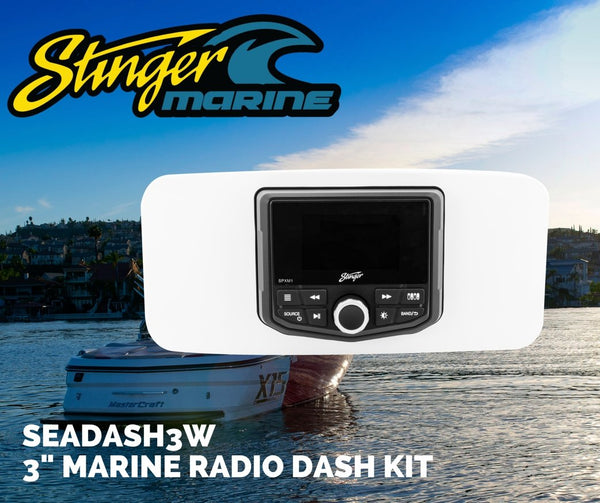 "UNIVERSAL MARINE 3"" RADIO DASH KIT - WHITE"