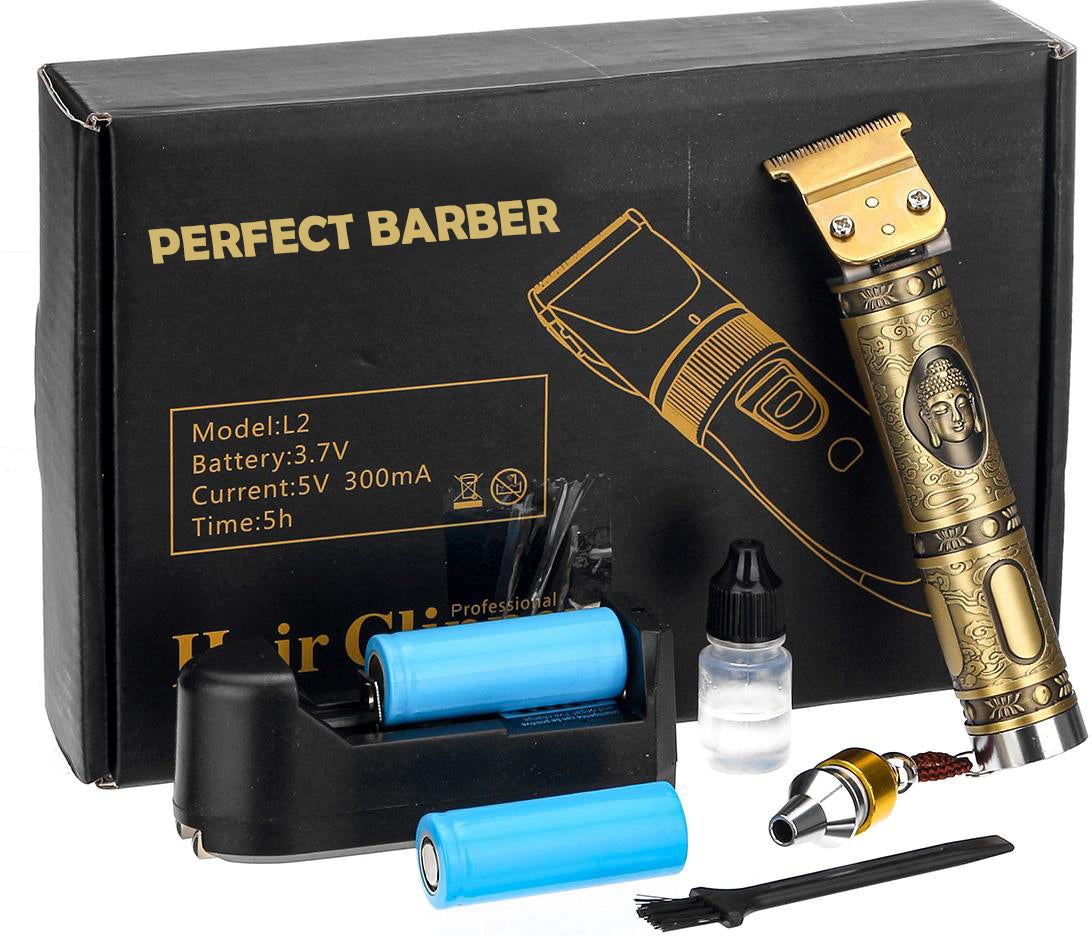 kit do perfect barber com 6 cabeças diferentes para barbear e bateria extra recarregavel